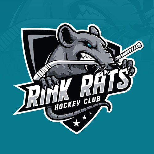 Aggressive logo with the title 'Rink Rats hockey team logo'