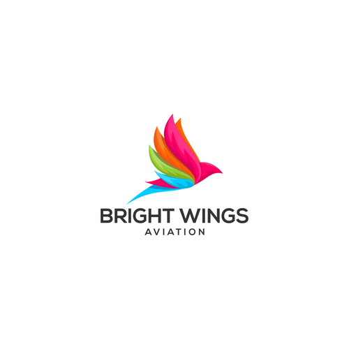Aviation logo with the title 'bright wings '