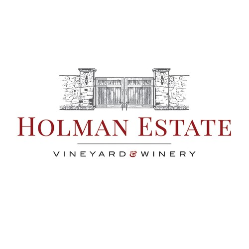 Vineyard design with the title 'Holman Estate a Winery and Vineyard Logo'