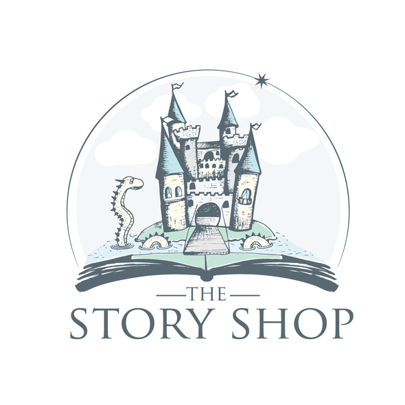 Sketch logo with the title 'hand drawing castle for children book store'
