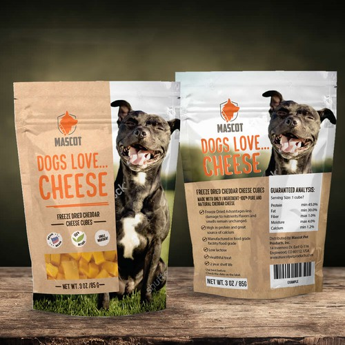 Kraft paper packaging with the title 'Dogs love...cheese - dog food design suggestion.'