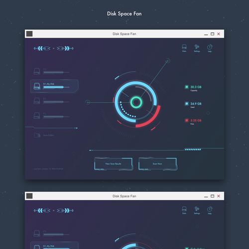 Desktop design with the title 'Disk Management Windows App'