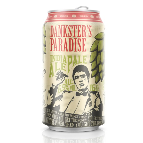 """Brewery packaging with the title 'Danskter's Paradise IPA (""""Scarface"""" style)'"""
