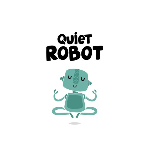 Character logo with the title 'Hand-drawn zen robot logo'