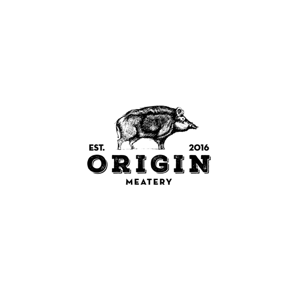 Meat brand with the title 'Vintage bold logo for meatery'