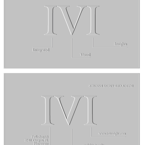 Insight design with the title 'Help IVI with a new logo and business card'