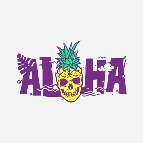 Vintage t-shirt with the title 'ALOHA Pineapple Skull'