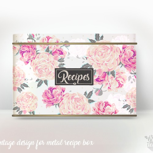 Vintage packaging with the title 'Vintage metal recipes box and my 3D metal box rendering'