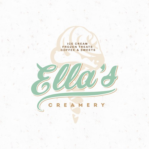 """50s logo with the title 'Vintage style logo concept for """"Ella's creamery""""'"""