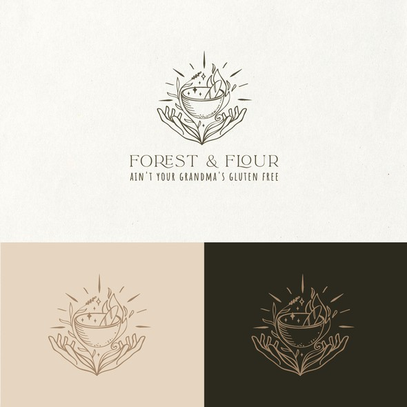 Flour logo with the title 'Forest and flour logo design'