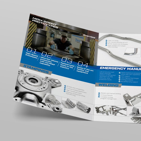 Welding design with the title 'Technique Brochure Bi-fold'