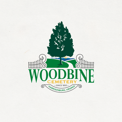 Oak tree design with the title 'Woodbine Cemetery'