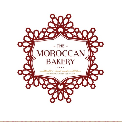 Gold frame logo with the title 'Create an adventurous bakery logo for The Moroccan Bakery'