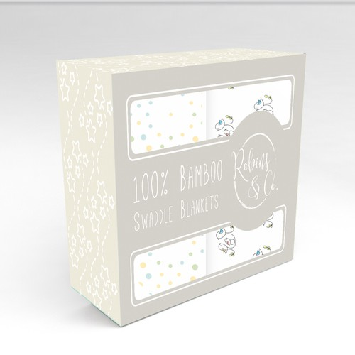 Swaddle design with the title 'Bamboo Swaddle Blanket Box'