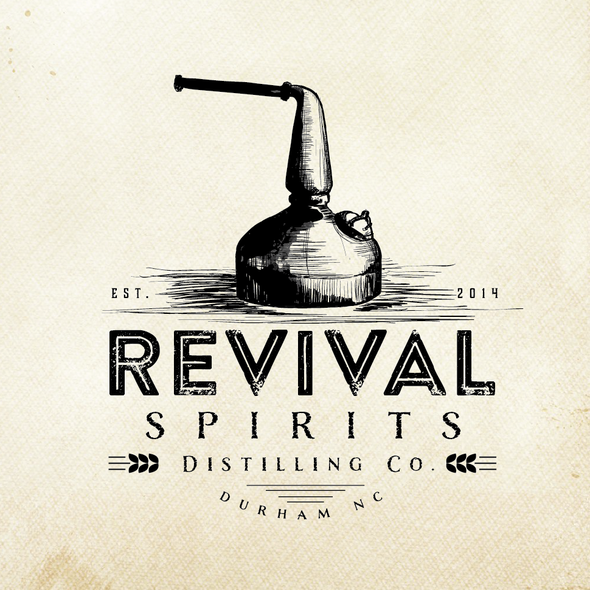 Rum logo with the title 'Old School craft distillery logo for Revival Spirits Distilling Co.'