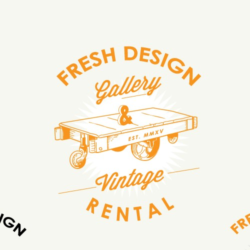 Orange design with the title 'Logo design Fresh Design Gallery & Vintage Rental'