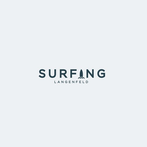 Surfer logo with the title 'Unused Logo Design for a Surfing Company'