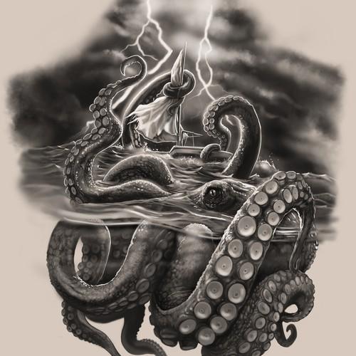 Kraken design with the title 'Half sleeve - Nautical, Kraken versus small sailboat featured'