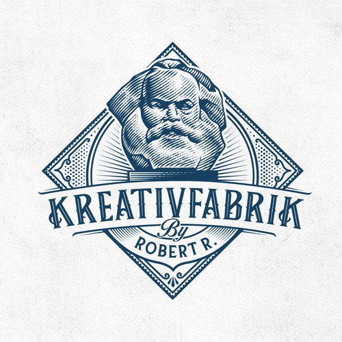 Scratchboard design with the title 'kreativfabrik by robert r.'