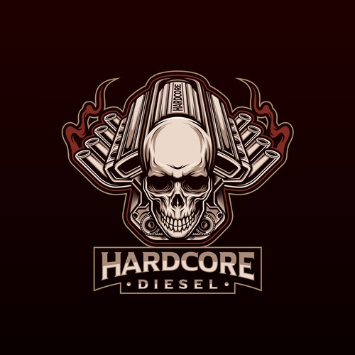 Engine logo with the title 'HARDCORE DIESEL'