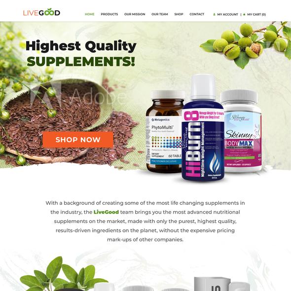 Supplement design with the title 'Nutrition Supplement Website Design'