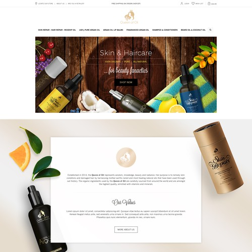 Organic website with the title 'Homepage proposal for woman luxury organic haircair and skincare business'