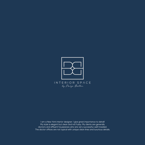 Interior design logo with the title 'B+B interior space'