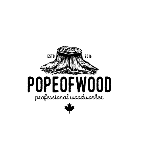 Woodworking logo with the title 'Pope of Wood'
