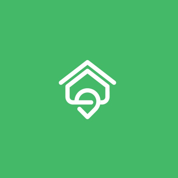 House brand with the title 'Home Pin logo for real estate search engine'