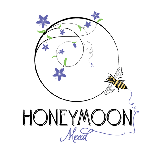 Honeymoon design with the title '***Meadery Logo - Honeybees, Wine, Bees, Beekeeping, Family Owned***'