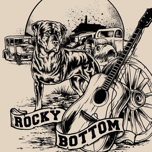 Dog t-shirt with the title 'Design for folk american musician : Rocky Bottom'