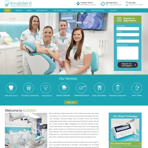 Design firm website with the title 'Kvalident'