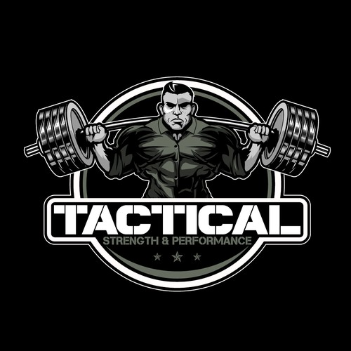 Camouflage logo with the title 'Army flipping barbell character for Strength & Conditioning'