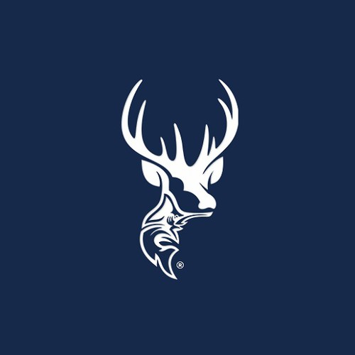 Deer hunting logo with the title 'HUNTING AND FISHING'