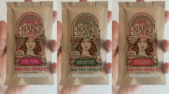 Pouch design with the title 'Art Nouveau Inspired Kraft Pouches for Organic Chocolate Bars'