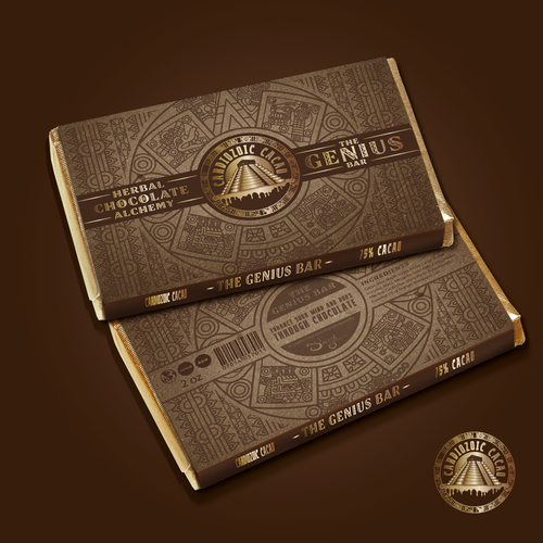Chocolate design with the title 'Cardiozoic Cacao needs a new product label'