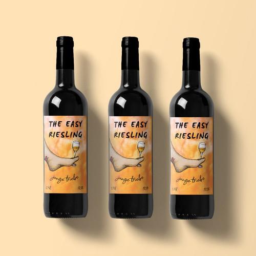 Watercolor label with the title 'Bright wine label design '