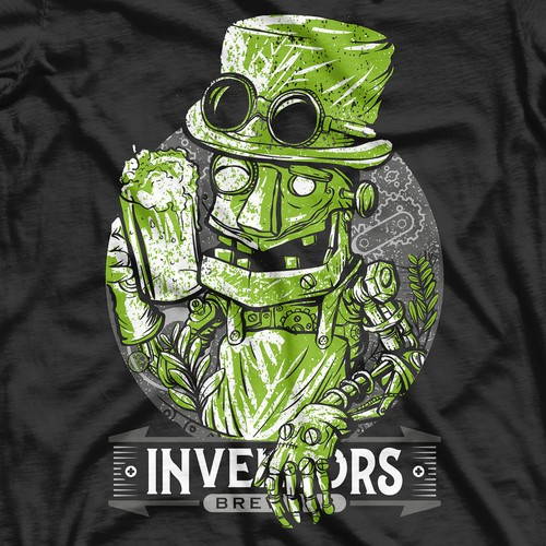 Steampunk t-shirt with the title 'inventors brew '
