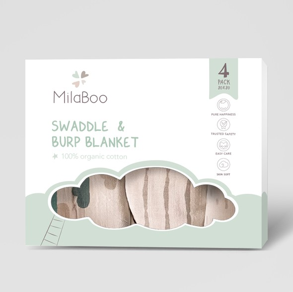 Care packaging with the title 'Package for blanket Milaboo'