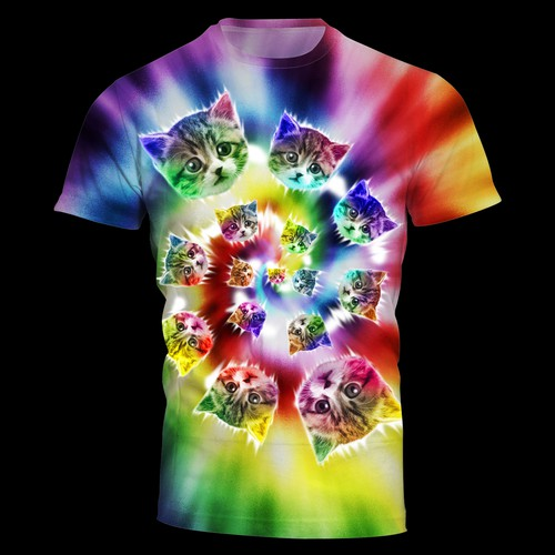 Cat t-shirt with the title ' Create cute tie dye cat t-shirt'