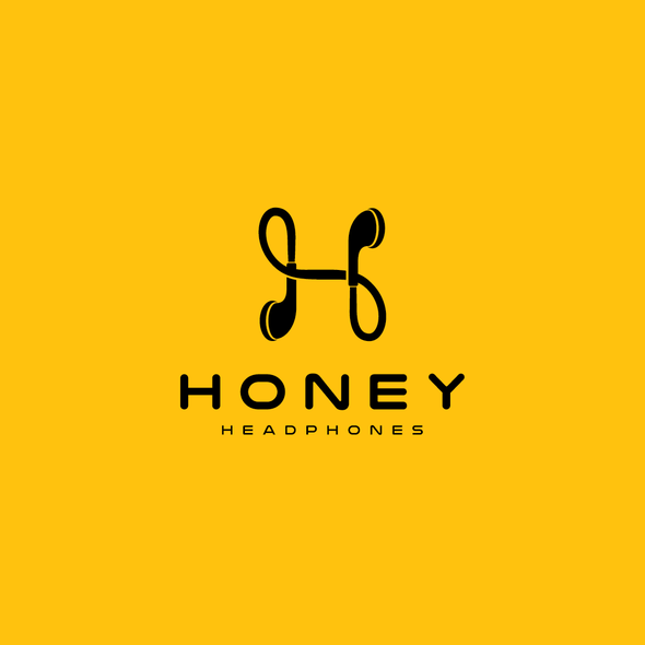 H design with the title 'logo concept for Honey Headphones'