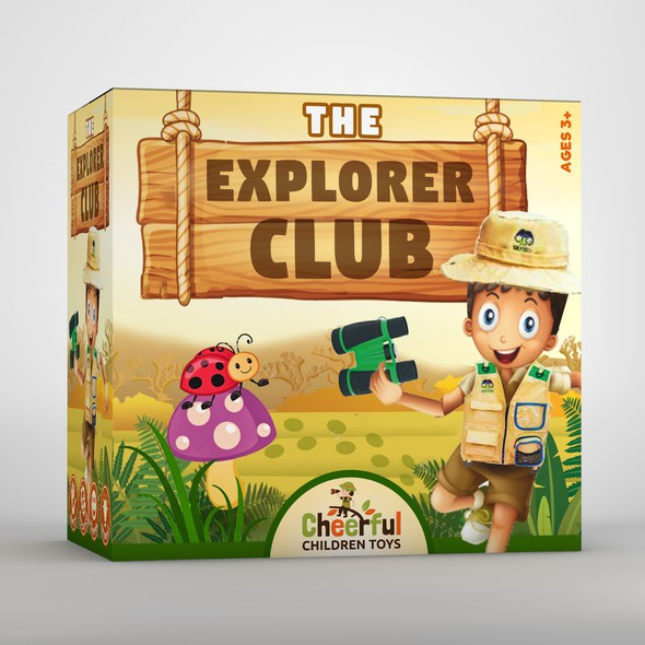 Game packaging with the title 'Kids explorer set package design concept'