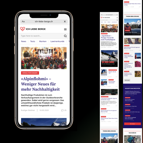 Mobile responsive website with the title 'Mobile version of News site'