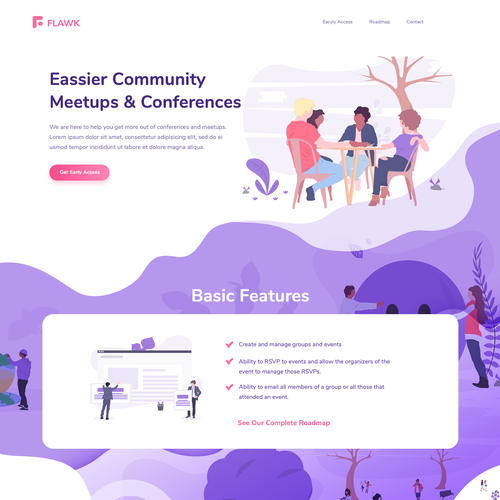 Violet design with the title 'Illustrated Landing Page'