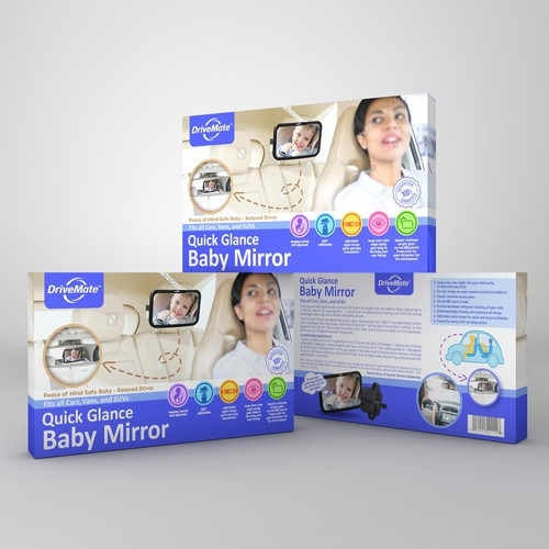 Fun packaging with the title 'Minimalist package design for DriveMate'