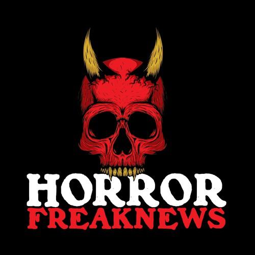 Demon logo with the title 'Skull Logo for Horror Freak News'