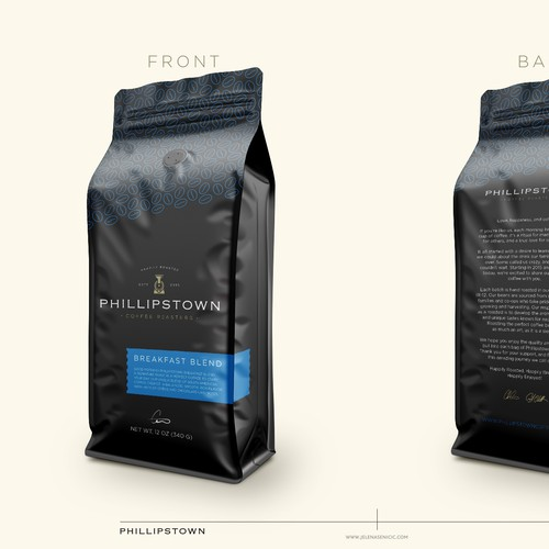 Package label with the title 'Coffee packaging'