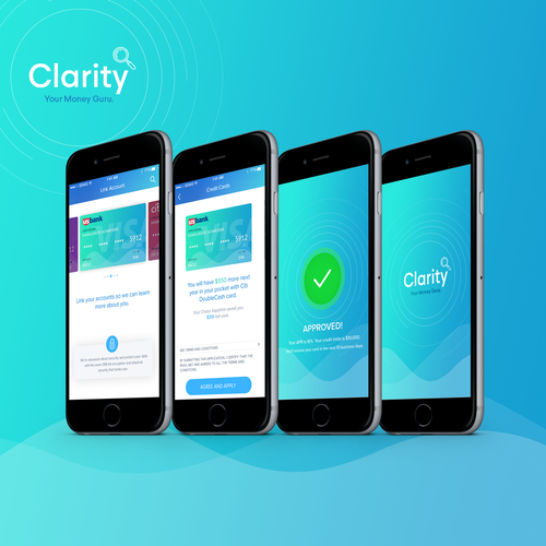 Credit card design with the title 'Financial iOS App Design'