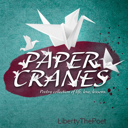 """Japanese book cover with the title '""""Paper Cranes"""" Book Cover Design'"""