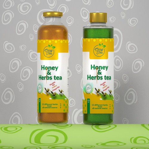 Herbal label with the title 'HONEY & HERBS TEA'